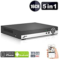 (5 in 1)ANRAN 16CH Security DVR 1080N AHD NVR HD Digital Video Recorder for CCTV Security Camera System Suport Mobile Phone Monitoring,Motion Detection,Real time Recording ,No HDD