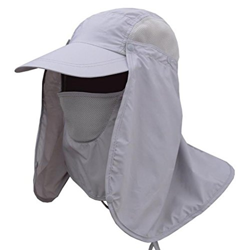 Extreme Outdoor Sun Hat - Vcenty Sun Hat Unisex Headwear Extreme Condition Summer Outdoor Sun Protection Neck Face Flap Hat Wide Brim (Gray)