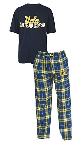 Concepts Sport UCLA Bruins NCAA Great Duo Men's T-Shirt & Flannel Pajama Sleep Set (Ucla Bruins Ncaa Drawstring)
