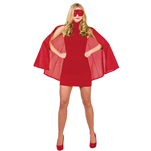 Super Hero Cape with mask Red Superhero Costume Heroine Super Woman