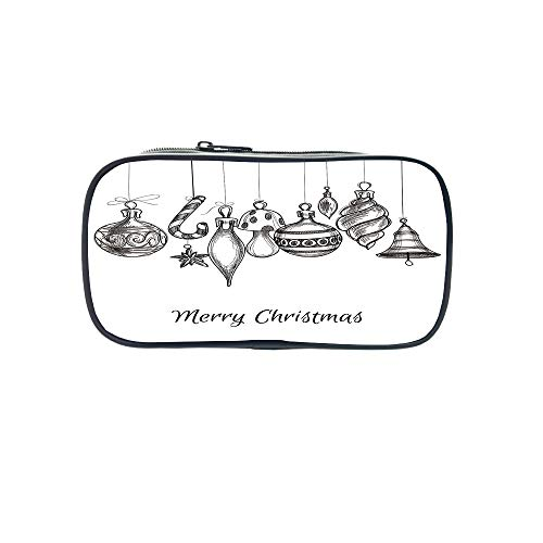 - Personal Tailor Pen Bag,Christmas,Santa Claus Sitting on Roof Top Looking Through Binoculars Cloudy Cityscape Decorative,Red Light Grey,for Students,Comfortable Design.8.7