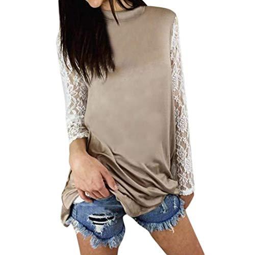 Shirt Pullover Dress Camicetta Camicette Maniche Pizzo Abito Casual T Abbigliamento Elegante Di Donna A Mini Khaki Tunica Felpa Girocollo Top Party Lunghe Camicie Vintage Tops 0ONm8wvn