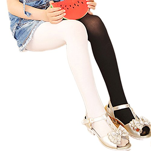 (Kids Girls Candy Color Tights Stretch Pantyhose Stockings Footed Tights Black)