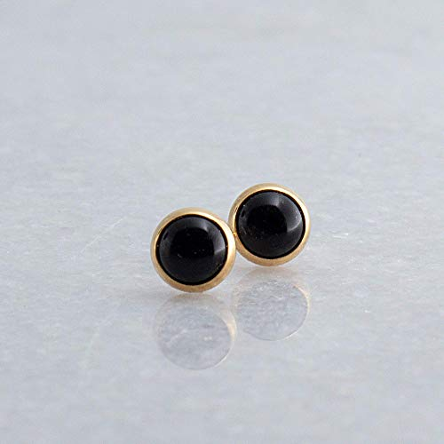 - 14K Gold Filled and Black Onyx Stone Stud Earrings GF-4MM-Black Onyx Studs