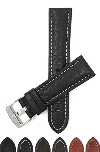 Bandini Extra Long (XL) 22mm Mens Italian Leather Watch Band Strap - Black - Buffalo Pattern - White Stitch - Classic (Xl Watch Band 22mm)