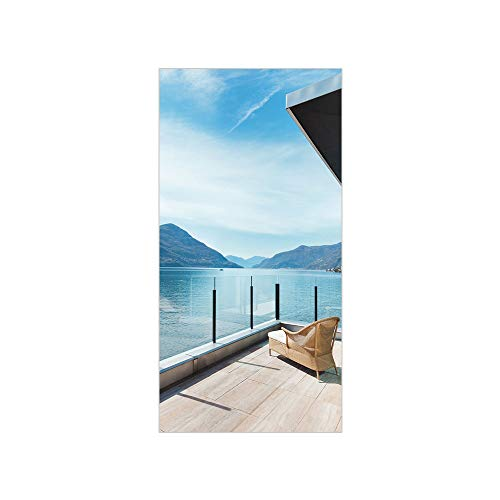 3D Decorative Film Privacy Window Film No Glue,Patio Decor,Penthouse Terrace with Ocean Sea and  ...