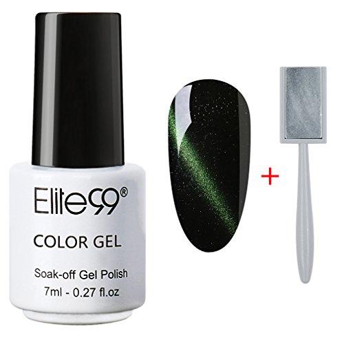 Magnetic Enamel (Elite99 Soak Off 3D Magnetic Cat Eye Gel Polish UV LED Nail Art 6559 Dark Green Free Magnet)