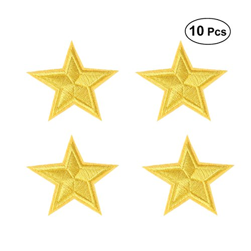 ULTNICE 10pcs Five-Pointed Star Embroidery Cloth Patch Decorative Patch Clothes Badge for Repairing T-Shirt Jeans Skirt - Yellow Patches Star