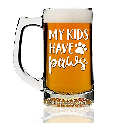 My Kids Have Paws Dog Theme 13oz Beer Mug Glass - Engraved Beer Mug Glass Gift