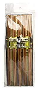 Totally Bamboo Twist Chopsticks, Reusable, 100% Premium Organic Bamboo + Set of 5 pairs (9.75-inch)! Professional Grade + Safe & Durable + Lightweight (Gifts, Events, Dining IN or OUT)
