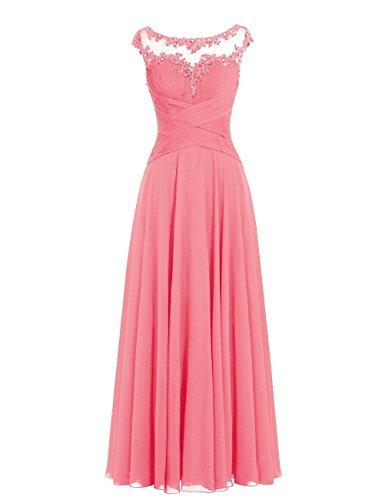 Lang Abendkleider Brautjungfernkleider Koralle Hochzeitskleider Chiffon Ballkleider Linie A a1BqwBx8