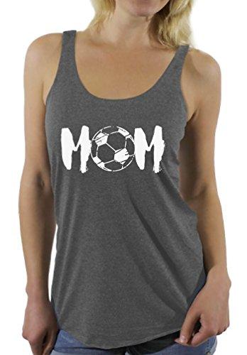 Awkward Styles Women's Soccer MOM Motherhood Graphic Racerback Tank Tops White Sport Mom Gift Idea Grey M