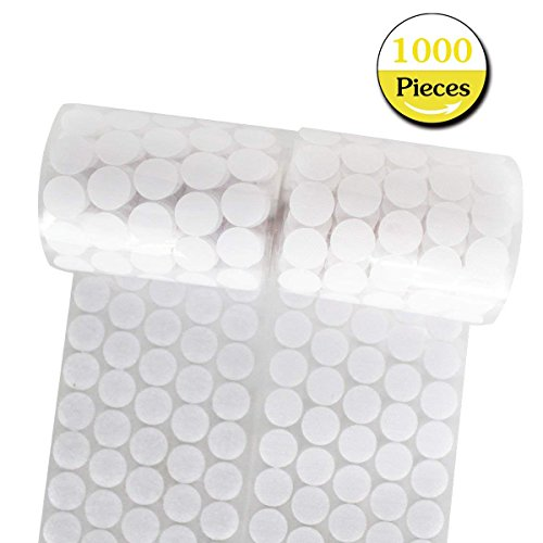 Hook and Loop Dots 20mm Diameter Self Adhesive Dot Sticky Back Coins 1000 Pcs(500 Pair) - White, Ideal for School, Office, Home