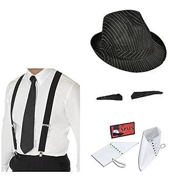 expédition de baisse profiter de prix bas modèles à la mode Chapeau gangster noir, bretelles, Cravate, SPiV composé et ...