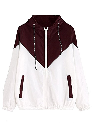 - 41wrsyBRzFL - Milumia Women's Color Block Drawstring Hooded Zip Up Sports Jacket Windproof Windbreaker