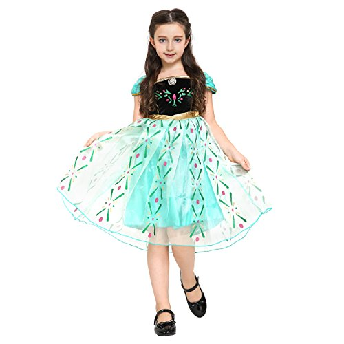 Girls Anna Frozen Princess Dress: Halloween Costume: Ages 4-5 (Green)