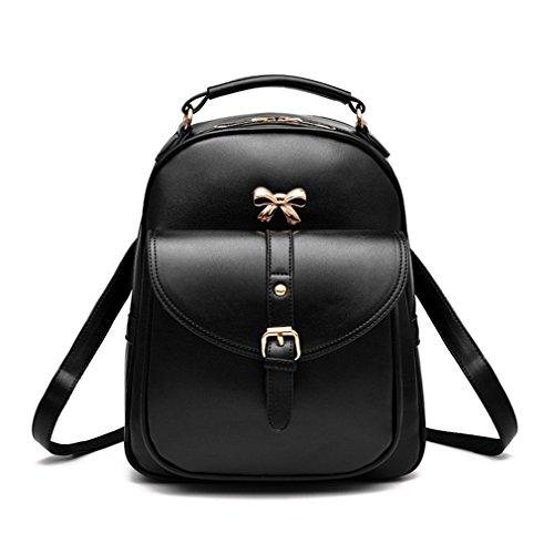Las mujeres Mochila Lady Mochila ola coreana femenina Colegio Bolsa bolso de cuero pu viento blue design 2 black design 2