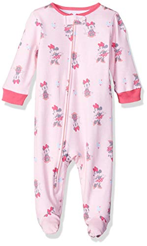 Disney Baby Girls Newborn Footed Sleep and Play, Pink Minnie, 0/3 Months