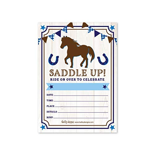 Horse Party Invitations (25 Pony Barn Birthday Party Invitation, Horse Farm Cowboy Invite, Little Boy Western Rodeo Kids Themed Bday Supply Idea, Spirit Animal Rustic Wood Printed or Fill in The Blank)