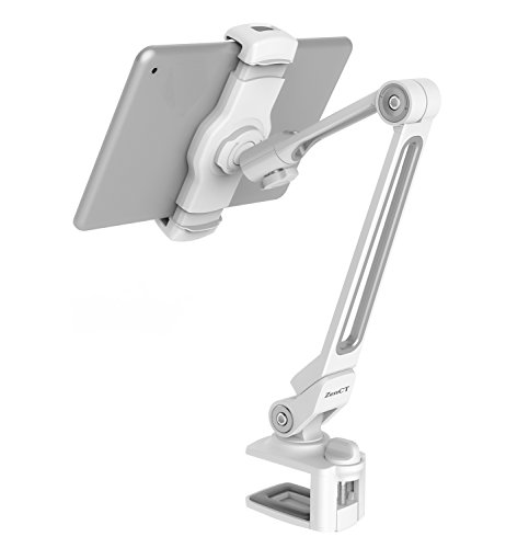 Price comparison product image ZenCT Tablet Stand Clamp Mount Holder,  Adjustable Metal Stand for Apple or Android Devices 4-11 Inches - White