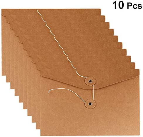NUOBESTY 10ピースクラフト紙文字列封筒a5ファイルバッグドキュメントオーガナイザーポーチ文房具バッグ鉛筆バッグ用オフィススタッフ学生