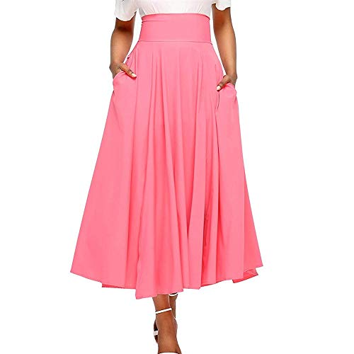 Women High Waist Long Skirt Pleated A-Line Swing Skirt Front Slit Wide Belted Maxi Skirt with Pockets (Pink, (Rainbow Belted Belt)