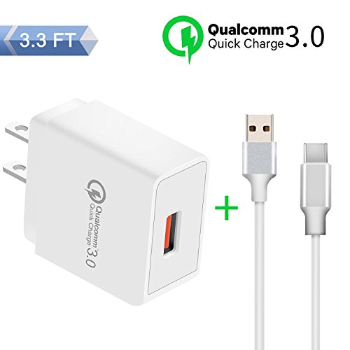 SDBAUX Quick Charge 3.0 USB Wall Charger,Single Port Travel Power Adapter 3A/18W,with Type C Lightning Cable(3.3FT) for Samsung Galaxy S9 S8 Plus Note 8,Google Pixel XL,Moto Z Z2,LG V30 G6 & More