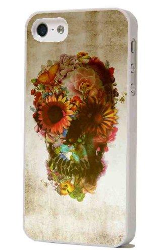 Weiß Rahmen-iphone 5 5S Totenköpfe aus Zucker Sugar Skulls Flowers Vintage Design Case Back Cover Metall und Kunststoff