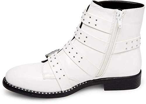 Steve Madden Womens Reena White Studded Combat Fashion Ankle Boots Size 11 M