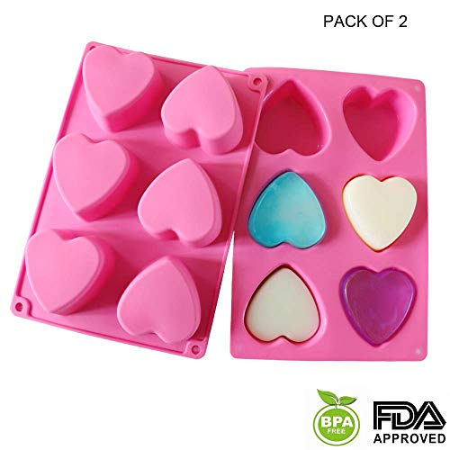 Silicone Molds Soap Molds 6 Cavity Heart Silicone Molds Baking Mold Silicone Cake Mold Ice Cube Tray Chocolate Mold Cake Mold Muffine Silicone Mold,Set of ()