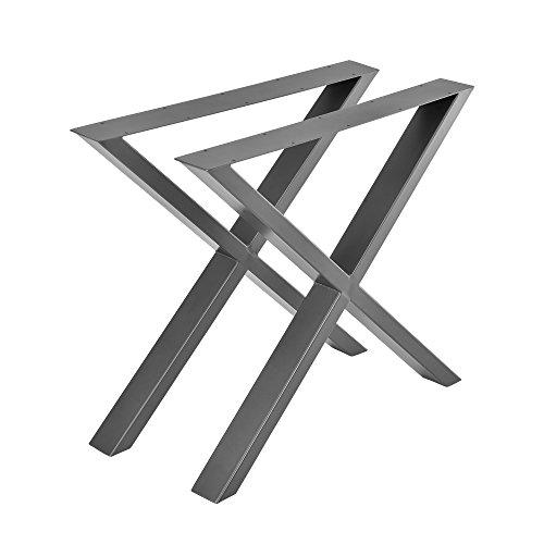 [en.casa] Conjunto de Patas de Mesa - Set de 2X Patas de Mesa - Gris metalico - 79 x 72 cm - Patas para Mesa en Forma de X