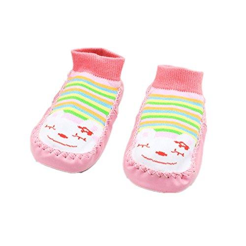 Auxma Para los 0-24 meses, las muchachas de los bebés de los cabritos embroma el calcetín antideslizante del niño de la historieta calza los calcetines del deslizador Rosa