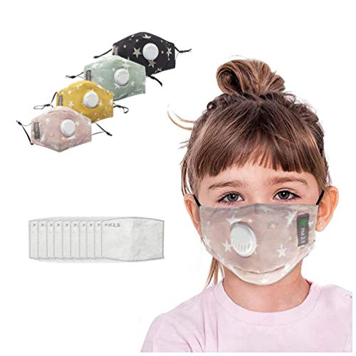 4 PCS UK Reusable Kids Face_Masks with Filter UK Washable Outdoor Breathable Protective Earloop Bandanas for Kids with…