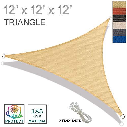 (SUNNY GUARD 12' x 12' x 12' Sand Triangle Sun Shade Sail UV Block for Outdoor Patio Garden)