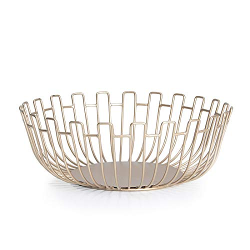 Conina Metal Wire Fruit Storage Basket Bowl for Kitchen Countertop Home Decorative,Modern Champaign Gold from Conina