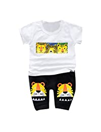 Lavany Little Boys Girls Clothes Set Tiger Print Short Sleeve Tops+Pants Outfits