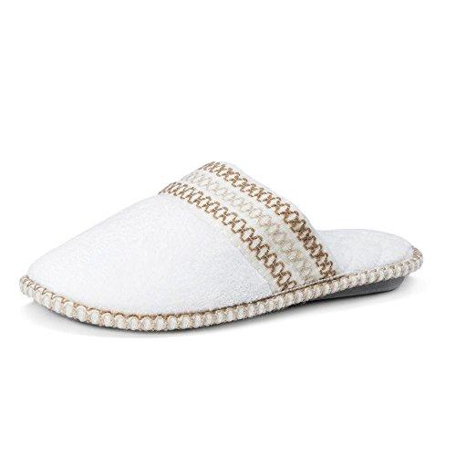 Muk Luks Donna Caty Micro Ciniglia Punta Chiusa Pantofola Bianca