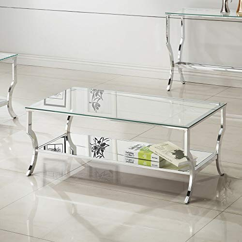 Rectangular Frame, Glass Top Coffee Table with Tempered Lower Glass Shelf and Streamlined Queen Anne Legs + Basic Design Concepts Expert Guide ()