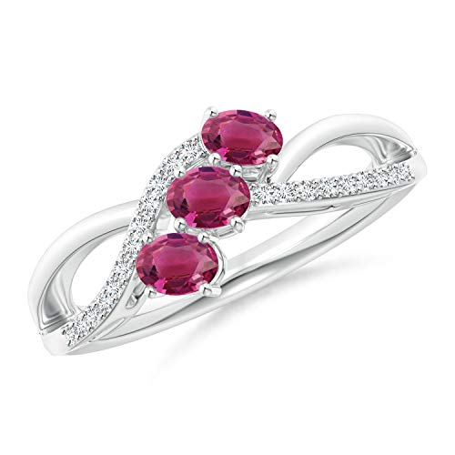 Oval Pink Tourmaline Three Stone Bypass Ring with Diamonds in Silver (4x3mm Pink Tourmaline)