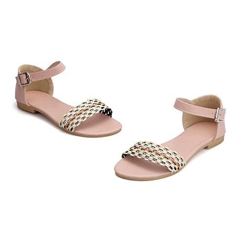 Assorted No Heel Flats Color Buckle Pink Toe Pu WeiPoot Women's Sandals Open qn5wZ5Ox