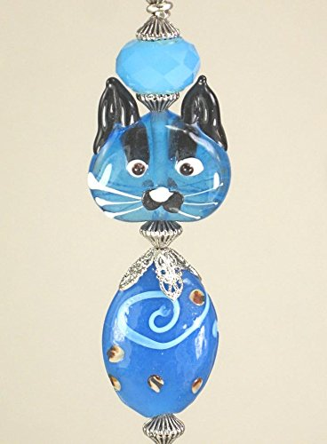 Blue Glass Kitty Cat Ceiling Fan Pull Chain/Light Pull by Trace Ellements