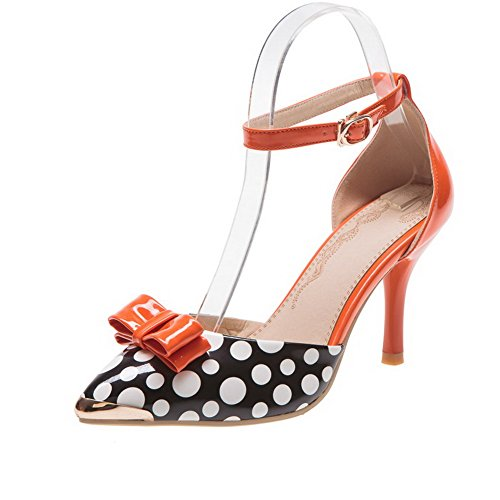 orsay D Polka dots 5 UK Heel Orange with Closed Patent Toe Stiletto Pointed VogueZone009 Leather Pumps Bowknot 5 Womens PU High Cqx7On