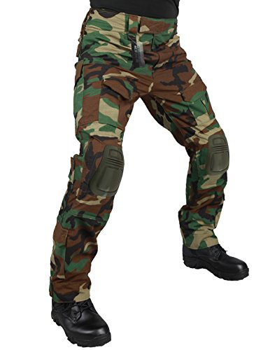 ZAPT Tactical Pants with Knee Pads Airsoft Camping Hiking Hunting BDU Ripstop Combat Pants 13 kinds Army Camo Uniform Military Trousers (Woodland, S32) (Woodland Camo Ripstop)