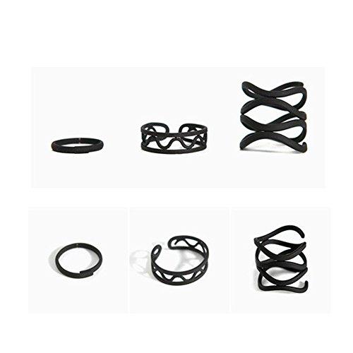 KeyZone Girls Black Stack Plain Above Knuckle Ring Midi Finger Tip Rings Set 3 Pcs