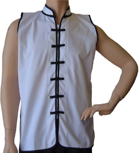 "Sleeveless Uniform Top in White w/Black-Adult Small (top height: 26.5"" chest:40"")"