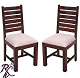 Raj Handicraft Set of 2 Solid Wood Cushioned Dining Chair |Study Chair | Chair for Living Room|Multipurpose Chair - Walnut Finish