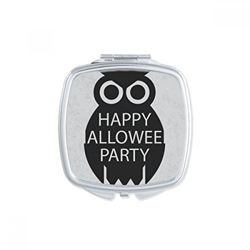 DIYthinker Halloween Simple Black Cartoon Owl Square Compact Makeup Pocket Mirror Portable Cute Small Hand Mirrors Gift -