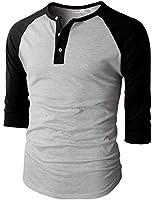 H2H Mens Casual Slim Fit Raglan Baseball Three-Quarter Sleeve Henley T-Shirts