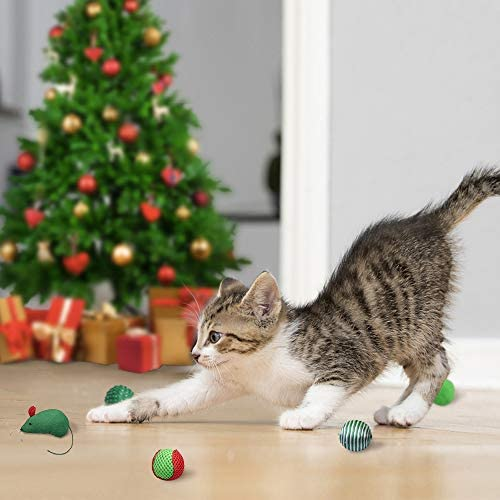EXPAWLORER 12 PCS Christmas Cat Toys Green Package, Including Ball, Mouse, Bell 8