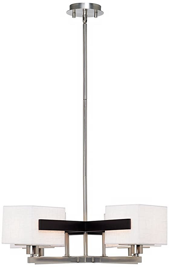 Possini euro design mirrored grids metal and wood chandelier amazon com